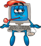 Clip Art Graphic of a Desktop Computer Cartoon Character